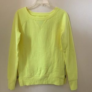 Bright Yellow Swoop Neck Sweater Side Zippers